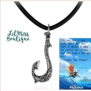 MOANA Unisex Fish Hook Pendant on Rubber Necklace